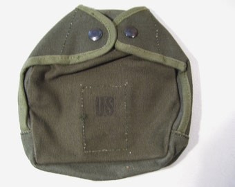Vintage U.S. Military 1 Quart Canvas Canteen Pouch Carrier, Never Issued