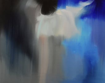 Large contemporary art oil painting, Abstract painting Ballerina art original, Blue dancer painting