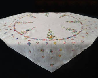Hand Embroidered Floral Tablecloth