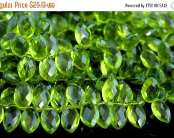 Sale AAA Peridot green quartz flat dew drop gemstone briolette- faceted peridot green quartz marquise briolette-20 PCs-12-13 mm No.680