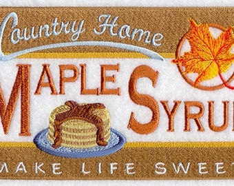 Country Home Maple Syrup Embroidered on Made-to-Order Pillow Cover