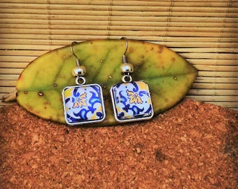 Portuguese tile earrings, Portuguese jewelry, Azulejo Replicas, Blue and Yellow Azulejos, Blue