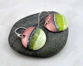 Shades of Green and Cream Enamel Copper Earrings with Torch Fired Patina