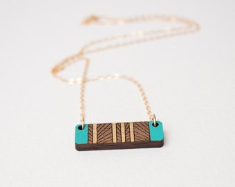 5th anniversary gift, wood anniversary gift, anniversary gift for her, Geometric Necklace, Layering Necklace, Laser Cut Wood Necklace