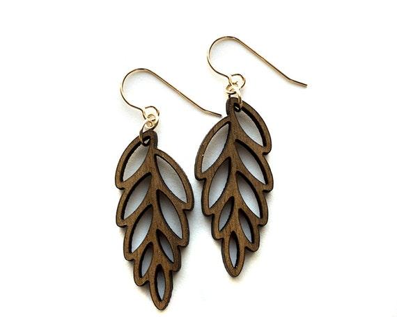 Organic Wood Leaf Earrings