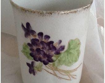 May Sale Purple Violets Porcelain Vase, Vintage Item, Small Vase, Gilded, Bud Vase, Small Bouquet