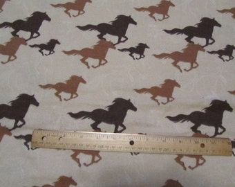 Brown Running Horses Flannel Fabric  by the Yard