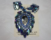 Vintage Blue Lagoon Sarah Coventry Brooch and Earrings Set