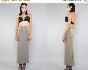 25% OFF Vtg 80s Gold Iridescent Minimal Pockets Maxi Skirt Gown S M