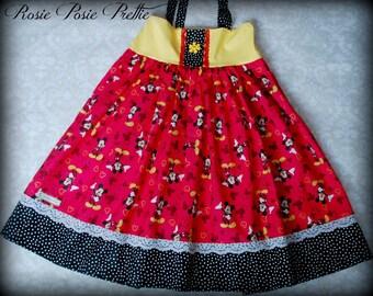 Mickey Dress, Mickey Mouse Dress, Disney Dress, Red Dress, Girls Mickey Dress, Walt Disney World Dress, Girls Dress, Summer Dress, Handmade