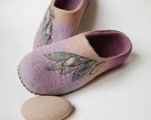 Floral felted slippers lilac felt slippers women wool slippers felt art slippers gift for mom ready to ship - 9 US 40 EU