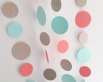 Mint, coral, gold glitter garland, wedding photo backdrop,bunting, tropical theme, circle garland, baby shower, garden party, easter