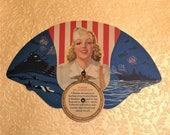 Vintage 1940s Hand Fan, Pretty Lady Pin Up Girl WAC Military Theme, World War II Era, USA Patriotic, Pledge of Allegiance, 1940s