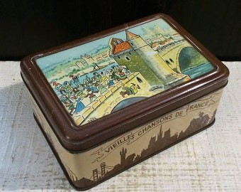 Vintage Bozz Comical French Biscuit Tin with Piper Falling, circa 1940s, Antique Tin Box, French Cartoonist, Old Songs of France