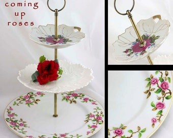 3 Tiered Cake Stand Pink Floral Serving Tray, Tiered Server Wedding Cake Plate, Three Tier Serving Tray, Rose China Pink White Plates