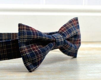 Blue Plaid Fabric Bow Tie, Blue and Red Plaid Dog Collar Bow, Dog Collar Bow Tie for Large Dog, Small Dog Bow Tie, Removable Dog Bow Tie