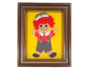 Vintage 70's Framed Raggedy Andy