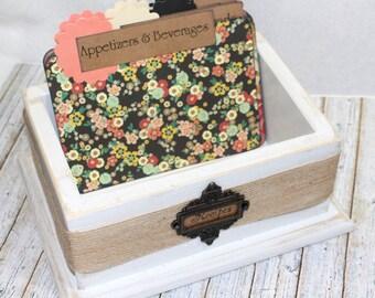 RECIPE BOX / Recipe Box with Dividers / 4 x 6 Recipe Cards / White Recipe Box / Rustic Recipe Box / Floral Recipe Dividers / Boho Dividers