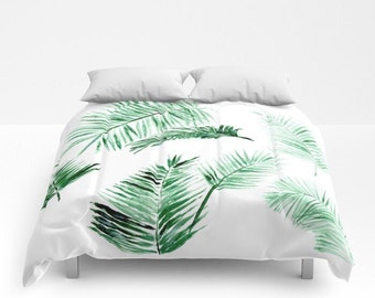 Palm Leaf Comforter, green white comforter, leaf full comforter, palm leaf bedding, leaf queen comforter, palm leaf duvet, modern comforter