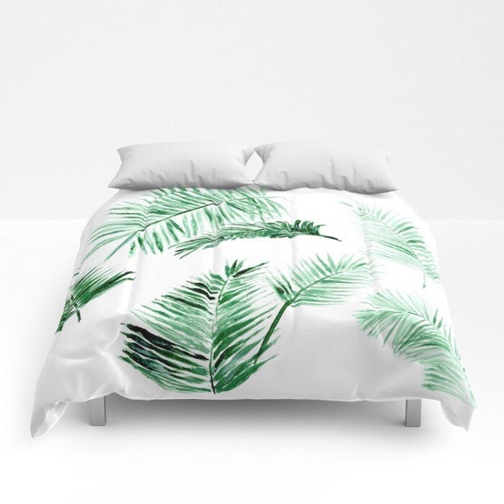Palm Leaf Comforter Green White Comforter Leaf Full