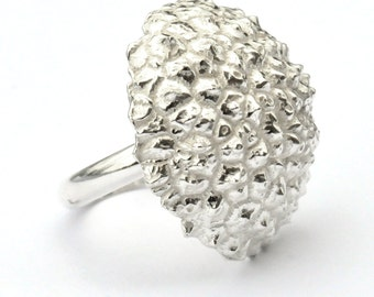 Beautiful Litchi adjustable sterling silver ring