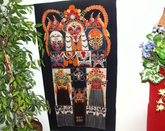 Masks -- Big Wall Hanging made from Vintage Chinese Batik - Many masks within masks - Batik Made in Guizhou Province