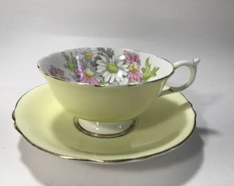 Vintage Paragon Tea Cup Saucer Yellow PInk Daisies By Appointment Queen Mary Bone China England 1930's