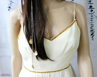 Head Chain Head piece, Gold Hair Jewelry Clip Hair Accessory