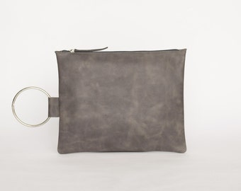 Distressed Gray Leather Clutch, Leather Wristlet Clutch, Gray Handmade Purse, Small Leather Purse, Gray Clutch Bag, Wristlet Evening Bag