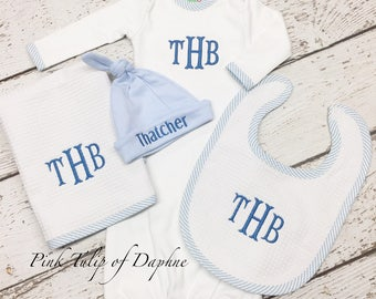 Newborn layette set, Infant boy gown set, Newborn gown and cap set, baby boy gown set, Baby Boy Monogrammed Infant Gown, Boy homecoming set