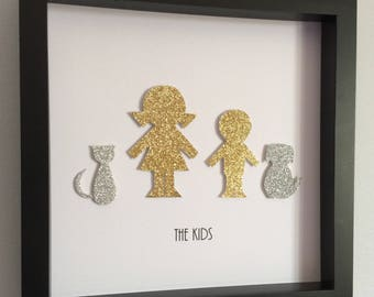 Girl, Boy, Dog, Cat Silhouette - 3d Paper Art - Customize for your family in gold, silver, birthstone or favorite color.