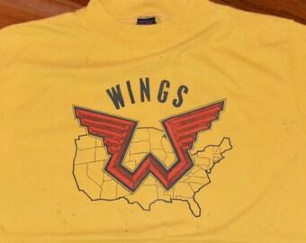 1976 WINGS PAUL McCARTNEY vintage concert tour rare original rock band t-shirt (M/L) Medium/Large 70s 1970s Beatles tee tshirt Mens Gift
