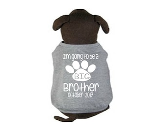 White Gray Soon to be a big brother paw heart dog cat shirt, girl puppy shirt top top pregnancy announcement with month and year pet 107