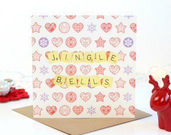 Jingle Bells Scrabble Christmas Card, Scrabble Inspired Christmas Card, Jingle Bells Christmas Card
