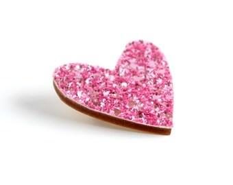 Pink Glitter Heart Pin, Glitter Heart Brooch, Wooden Love Heart Brooch Pin, Valentines Pin