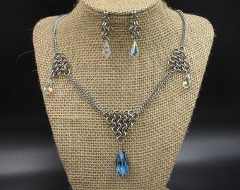 Stainless Steel Crystal Drop Necklace and Earing Set