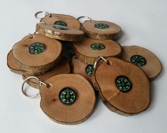 Wooden compass key rings handmade out of hazel, keyring, keychain, compass, gifts for men