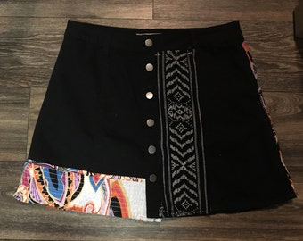 Black Patchwork Skirt