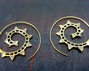 Spiral Star Gold Gypsy Earrings