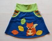 Cute girl fox appliqué skirt,toddler girl fox clothing,Christmas gift,toddler gift,kids winter,comfortable jersey skirt, 18 moths-8 years
