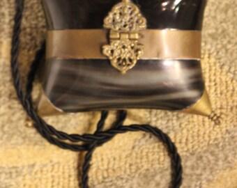 Antique Minaudière Pillow Purse/ Brass and Horn Festival Bag