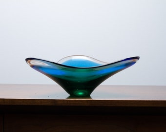 Art Glass Bowl Free Form Blue Green Ombre