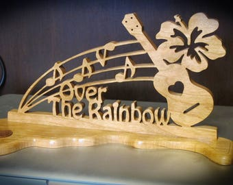 Over the Rainbow Ukulele Wood Hand Made Tabletop Sign