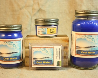 Cool Water Scented Candle, Cool Water Scented Wax Tarts, 26 oz, 12 oz, 4 oz Jar Candles or 3.5 Clam Shell Wax Melts
