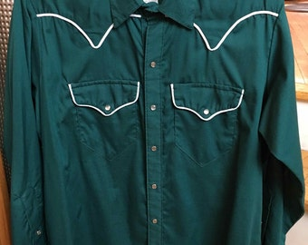 Vintage Men's Medium Western Shirt, Green with White Piping and Pearlized Snaps, Rockmount Ranch Wear Denver Co. Made in the USA