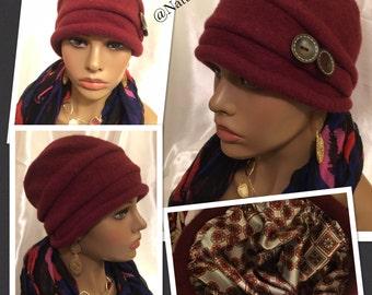 Diva Loves Paris Wine -Satin Lined Hat