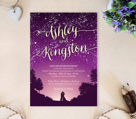 Purple Wedding Invitations Starry Night Wedding Invitations