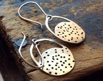 Oasis • SMALL Sterling Silver earrings • SMALL earrings • hammered silver discs • metalwork earrings • hippie • boho . Minimalist earrings .