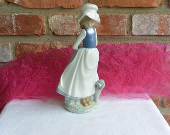 "1983 Lladro Girl Poodle Dog - Nao Daisa Porcelain, ""Cheer Me Up"", Hand Made, Spain -  Vintage - Beautiful, Retired!"
