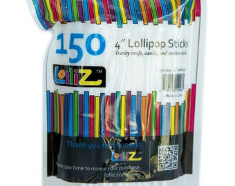 "LolliZ Food Safe, Creative, Multipurpose 4"" Lollipop Sticks, Pack of 150 in re-sealable bag"